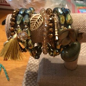 A seven bracelets/with embellishments